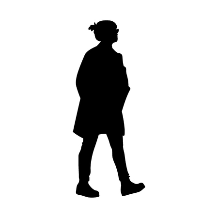 Woman takes a walk. Concept. Vector illustration of silhouette of walking woman. Stencil. Black silhouette isolated on white background. Monochrome minimalism