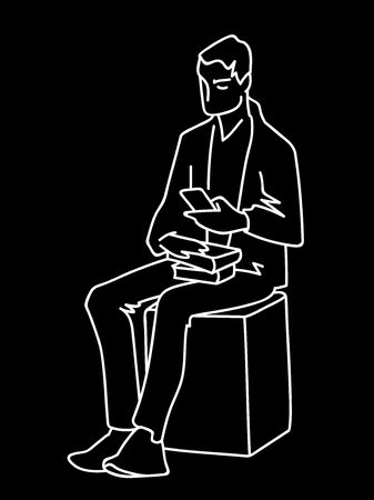Man sitting on cube with some books looking at smartphone. White lines on black background. Vector illustration of man searching information in simple line art style. Monochromatic hand drawn sketch Çizim