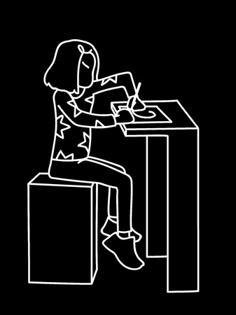 Little girl sitting at table and drawing or writing on list of paper. White lines on black background. Vector illustration of little girl in simple line art style. Monochromatic hand drawn sketch
