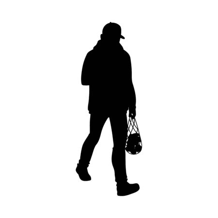 Adult man in warm jacket and baseball cap walking. Black silhouette isolated on white background. Front view. Monochrome vector illustration of man returns from the supermarket with a package of fruit