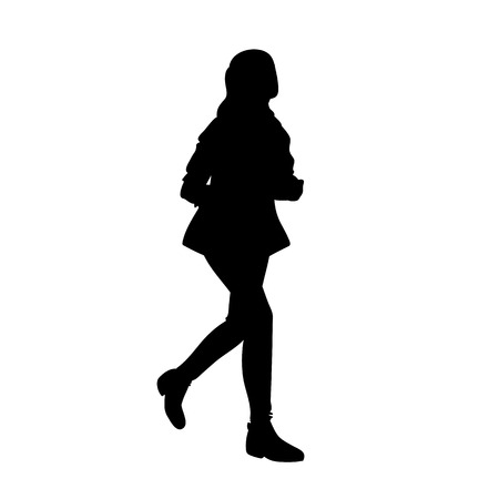 Teenage girl with long hair running. Black silhouette isolated on white background. Concept. Vector illustration of girl runner in streetwear. Stencil. Monochrome minimalism