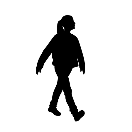 Girl taking a walk. Black silhouette isolated on white background. Concept. Vector illustration of girl in street wear going for a stroll. Stencil. Monochrome minimalism