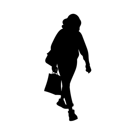 Girl with curly hair walking. Black silhouette isolated on white background. Concept. Vector illustration of girl with shopping package. Stencil. Monochrome minimalism
