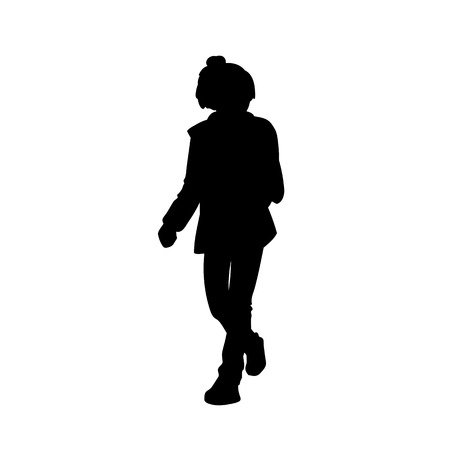 Cute teen girl taking a walk. Black silhouette isolated on white background. Side view. Monochrome vector illustration of teenage girl  walking. Concept. 向量圖像