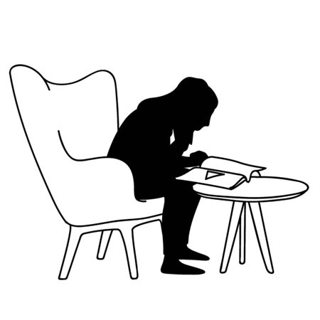 Woman sitting on soft armchair in front of coffee table, reading magazine. Vector illustration of silhouette of girl closely peering into book. Concept. Stencil. Black silhouette on white background 일러스트