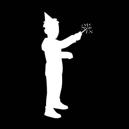 Little boy in festive cup holds sparkler in his hand. White silhouette isolated on black background. Concept. Vector illustration of boy with magic wand. Stencil. Monochrome minimalism