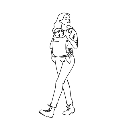Young mother with baby carrier taking a walk with her baby. Black lines isolated on white background. Concept. Vector illustration of woman with child in simple line art style. Hand drawn sketch