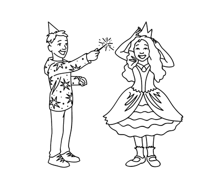 Happy kids having fun. Monochrome vector illustration of boy and girl plaing together on white background. Boy in festive hat holds magic wand in his hand and girl in dress corrects crown on her head.