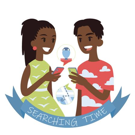 Couple searching for a route to museum or shop with vases. Vector illustration of african boy and girl looking at each other with smartphones in their hands on white background. Flat cartoon style