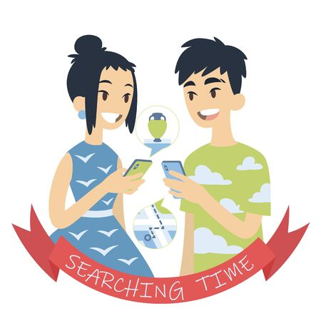 Couple searching for a route to museum or shop with vases. Vector illustration of asian boy and girl looking at each other with smartphones in their hands on white background. Flat cartoon style Ilustração