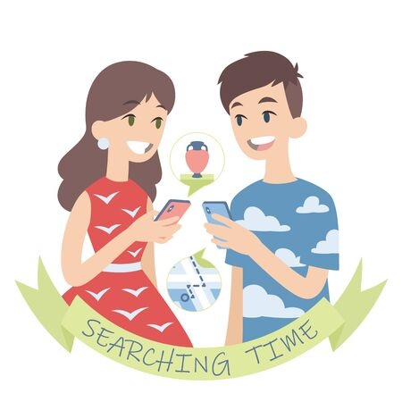 Couple searching for a route to museum or shop with vases. Vector illustration of european boy and girl looking at each other with smartphones in their hands on white background. Flat cartoon style Ilustração