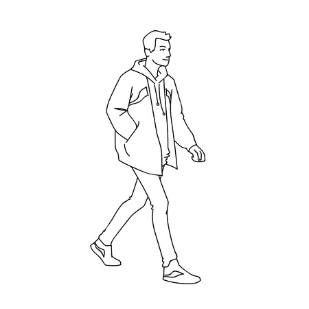 Sporty young man taking a walk. Side view. Monochrome vector illustration of man in jacket, jeans and sneakers walking in simple line art style. Black lines isolated on white background. Concept Ilustração