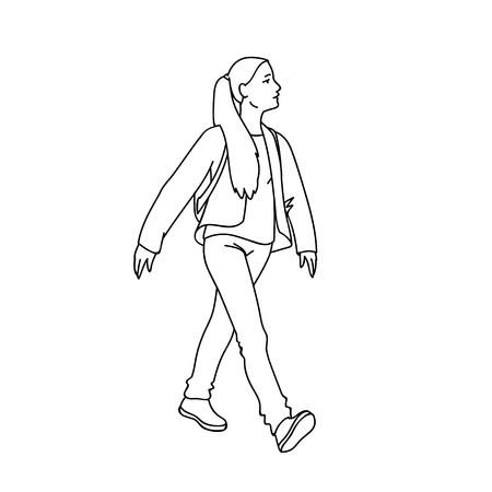 Cute girl with long hair taking a walk. Black lines isolated on white background. Concept. Vector illustration of girl going for a stroll in line art style. Hand drawn sketch. Monochrome minimalism. Ilustração