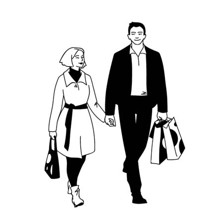 Couple of young people shopping. Front view. Monochrome vector illustration of man with packages and woman walking with him by the hand in simple line art style isolated on white background Çizim