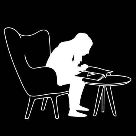 Woman sitting on soft armchair in front of coffee table, reading magazine. Vector illustration of silhouette of girl closely peering into book. Concept. Stencil. White silhouette on black background.