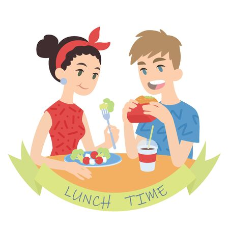 Couple eating. Vector illustration of multicultural pair in flat cartoon style on white background. European boy biting burger and caucasian girl eating fresh salad. Romantic lunch