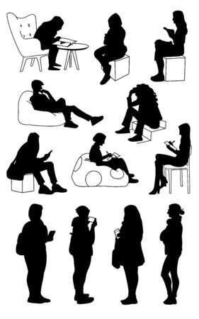 Set of women in different poses. Monochrome vector illustration of silhouettes of women standing and sitting. Black sillhouettes isolated on white background. Stencil.