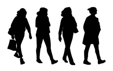 Set of women taking a walk. Concept. Monochrome vector illustration of silhouettes of women walking in different poses. Black sillhouettes isolated on white background. Stencil. Ilustração