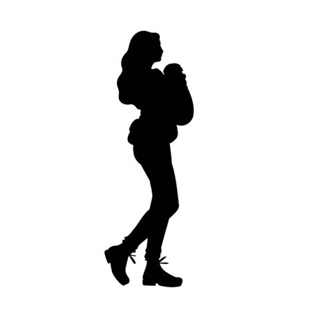 Young mother with baby carrier taking a walk with her baby. Black silhouette isolated on white background. Concept. Vector illustration of woman with child. Stencil. Monochrome minimalism.