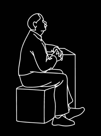 Old man crossing his hands, sitting on cube. White lines isolated on black background. Concept. Vector illustration of old man with moustache in simple line art style. Monochromatic hand drawn sketch. Standard-Bild - 132100629