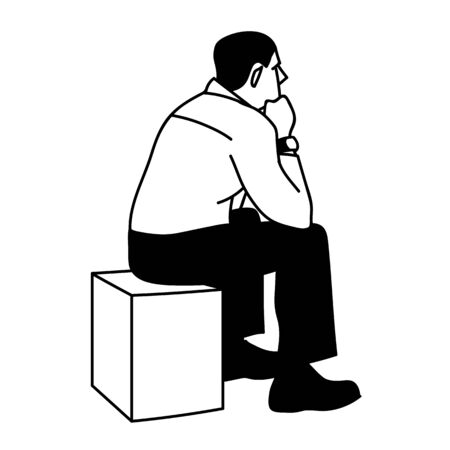 Man sitting on box. View from the back. Black lines isolated on white background. Concept. Vector illustration of serious man sitting on cube putting elbows on his knees in simple sketch style.