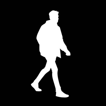 Young man in jacket, jeans and sneakers walking. White silhouette isolated on black background. Side view. Monochrome vector illustration of man taking a walk. Concept.