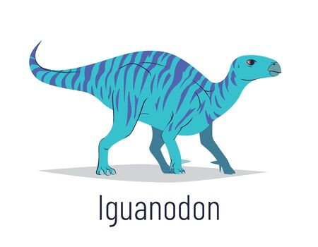 Iguanodon. Ornithischian dinosaur. Colorful vector illustration of prehistoric creature iguanodon in hand drawn flat style isolated on white background. Huge fossil dinosaur. Element for your design. Ilustração