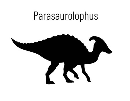 Parasaurilophus. Ornithischian dinosaur. Monochrome vector illustration of silhouette of prehistoric creature parasaurolophus isolated on white background. Stencil. Huge fossil dinosaur.