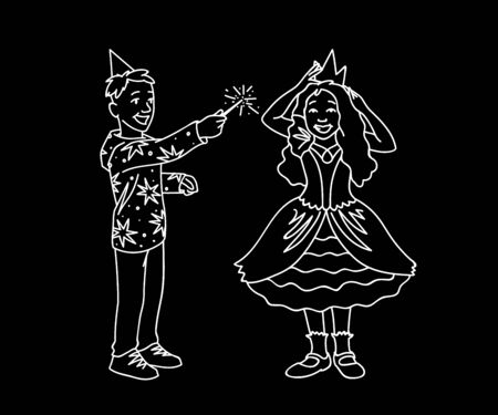 Happy kids having fun. Monochrome vector illustration of boy and girl plaing together on black background. Boy in festive hat holds magic wand in his hand and girl in dress corrects crown on her head