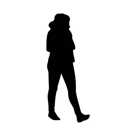 Girl with long hair taking a walk, looking away. Black silhouette on white background. Concept. Vector illustration of girl in skirt and boots going for a stroll. Stencil. Monochrome minimalism
