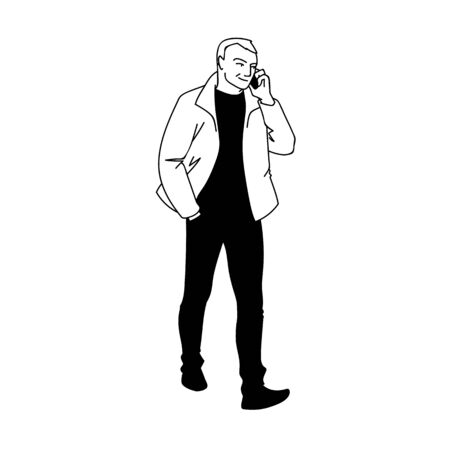 Adult man in jacket walking. Front view. Monochrome vector illustration of man taking a walk and talking on the phone in simple line art style. Hand drawn sketch isolated on white background. Concept. Illustration