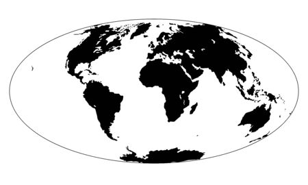 Silhouette of Map of the Earth. Monochrome vector illustration of Earth map with black continents and white oceans isolated on white background. Nowadays projection. Stencil. Worldmap 向量圖像