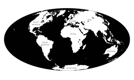 Map of the World. Monochrome vector illustration of Worldmap with white continents and black oceans isolated on white background. Nowadays projection. Silhouette. Element for your design
