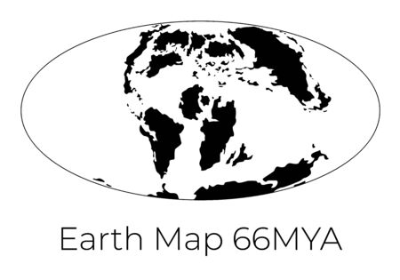 Silhouette of Map of the Earth 66MYA. Monochrome vector illustration of Earth map with black continents and white oceans isolated on white background. Projection. Prehistoric worldmap