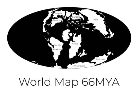 Map of the World 66MYA. Monochrome vector illustration of Worldmap with white continents and black oceans isolated on white background. Prehistoric projection. Silhouette. Element for your design Ilustração