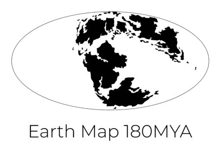 Silhouette of Map of the Earth 180MYA. Monochrome vector illustration of Earth map with black continents and white oceans isolated on white background. Projection. Prehistoric worldmap