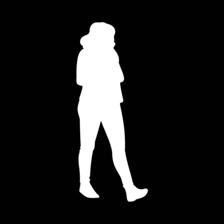 Girl with curly hair walking, looking away. White silhouette isolated on black background. Concept. Vector illustration of girl in pants and boots going for a stroll. Stencil. Monochrome minimalism.
