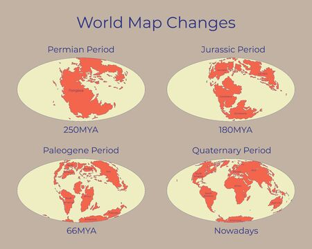 Map of the World and changes in different geological periods. Colorful vector illustration of Worldmap with names of continents isolated on background. 250mya, 180mya, 66mya and nowadays projections.