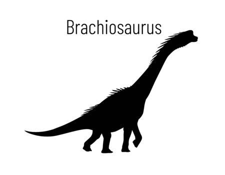 Brachiosaurus. Sauropodomorpha dinosaur. Monochrome vector illustration of silhouette of prehistoric creature brachiosaurus isolated on white background. Stencil. Huge fossil dinosaur