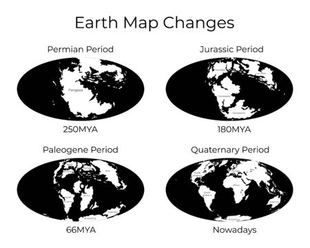 Monochrome vector illustration of Worldmap with names of continents isolated on background. Set. Map of the World and changes in different geological periods. 250mya, 180mya, 66mya and nowadays projections
