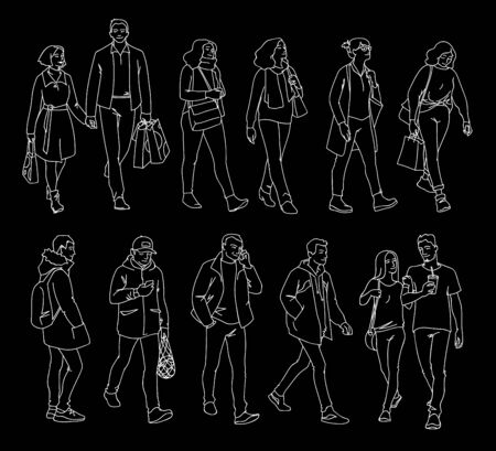 Set of men and women standing and walking. Monochrome vector illustration of people in different poses in simple line art style. Hand drawn sketch. White lines isolated on black background. Illustration