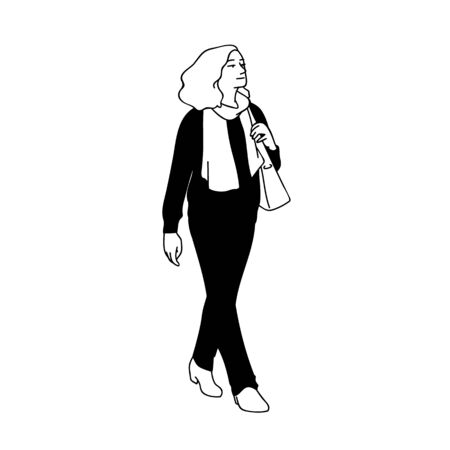 Adult woman with curky hair taking a walk, looking far away. Concept. Monochrome vector illustration of woman in casual wear and scarf walking alone isolated on white background. Hand drawn sketch Illustration