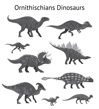 Set of ornithischian dinosaurs. Monochrome vector illustration of dinosaurs isolated on white background. Side view. Ornithischia. Proportional dimensions. Element for your desing, blog, journal. 向量圖像