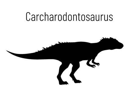 Carcharodontosaurus. Theropoda dinosaur. Monochrome vector illustration of silhouette of prehistoric creature carcharodontosaurus isolated on white background. Stencil. Fossil dinosaur.