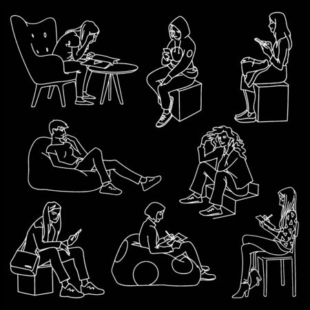 Set of women sitting in different poses. Monochrome vector illustration of women doing various things sitting in simple line art style. White lines isolated on black background. Hand drawn sketch.