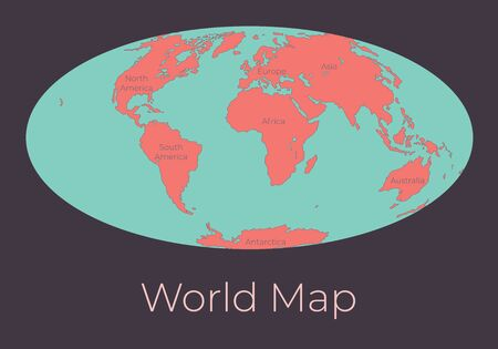 Map of the World. Vector illustration of Worldmap with red continents and turquoise oceans isolated on dark grey background. Nowadays projection. Earth map. Element for your design