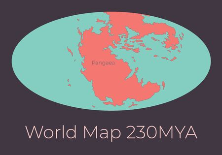 Map of the World 230MYA. Vector illustration of Worldmap with red continents and turquoise oceans isolated on dark grey background. Projection. Prehistoric Earth map. Element for your design.