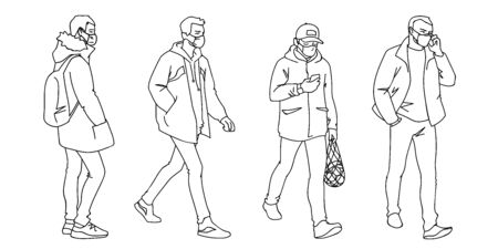 People in medical masks. Vector illustration of masked men in linear style isolated on white background. Respiratory protection. Facial tissue to prevent diseases, flu, air pollution. Man walking.