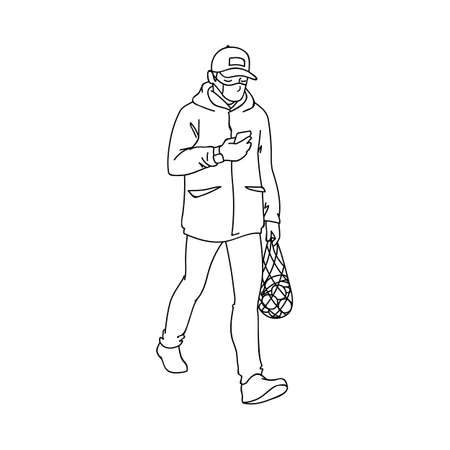 Adult man in medical mask buys fruits while quarantine. Monochrome vector illustration in simple linear style isolated on white background. Man returns from the supermarket with a package of fruits.
