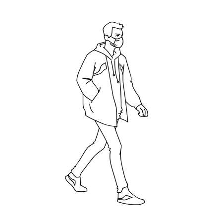 Masked young man taking a walk. Side view. Monochrome vector illustration in simple linear style isolated on white background. Pandemic concept. Man in medical mask jacket, jeans and sneakers walking.